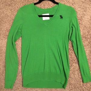 Abercrombie kids green v-neck sweater